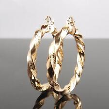 "9ct 9K "" Gold Filled "" 6 X 50mm LARGE Hoops Earring Valentine Xmas Gift E596g"