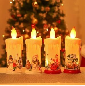 Christmas Candle Lights for Home Decorations Battery Powered Red White Plastic