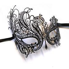 LUSSO NERO CIGNO Veneziano Stile Metallo Filigrana Masquerade Maschera Strass Crystal