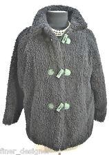 GRENIER DES FRIMOUSSES VTG. Black Shaggy Faux Fur WINTER COAT Girls SZ 12 Lady S