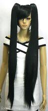 Beau droite noire longue perruquecosplay wig+ 2 tresses perruque