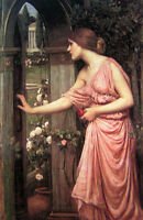 Stunning Oil painting Waterhouse psyche opening the door into cupid's garden 36""