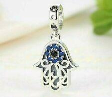 Hand of Fatima Charm Hamsa For Charm Bracelet Pendant Neck 925 Sterling Silver