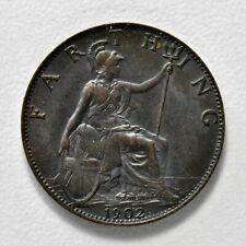 New listing Gb Edward Vii Bronze Farthing 1902 + High Grade - Unc! + [897-02]