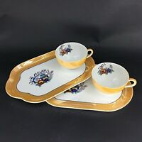 Noritake Peach Luster Wear Snack Plates and Cups, Hand-Painted, Japanese
