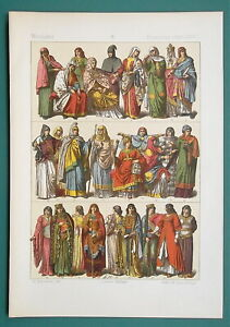 COSTUME Women's Fashion France 800-1200 AD - 1883 Color Litho Print
