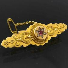 Old Victorian Etruscan Style c1870 9k Solid Yellow GOLD BAR LOCKET BROOCH