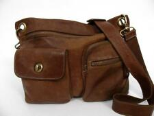ROOTS CANADA LARGE VILLAGE BROWN LEATHER SHOULDER CROSS BODY MESSENGER BAG PURSE