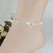 1Pc Women Crystal Silver Bead Heart Anklets Ankle Bracelet Foot Chain