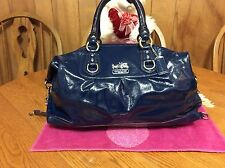 Coach Madison Sabrina Blue Patent Leather Large Satchel Bag 14179
