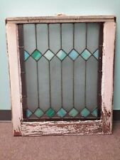 ANTIQUE STAINED GLASS CASEMENT WINDOW ORIG FRAMES TEAL DIAMOND AND WHITE