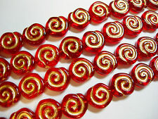 19 - 10mm Red with Gold Snail Shell Swirl Spiral Coin Czech Glass Beads