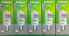 5x E-Saver, Energy Saving CFL Light Bulbs, Spiral, 12w, Cool White, B22 Bayonet