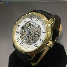 Mens Rotary Watch Automatic Skeleton Gold Pvd Steel Black Leather Genuine