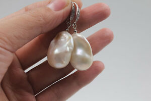 25 mm CLASSIC Big South sea white Weird Baroque Pearl perfect earring