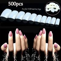 500 French Acrylic Artificial Full False Nail Art Tips P2MJ