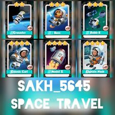 Space Travel Full Cards Set :- Coin Master ( Robb E, Model Z, Buzz, Crusader )