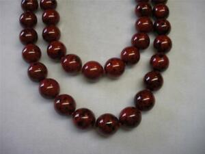 """JOAN RIVERS KNOTTED 12mm RED W/ BLACK MOTTLED CZECH GLASS BEAD 36"""" NECKLACE NEW"""