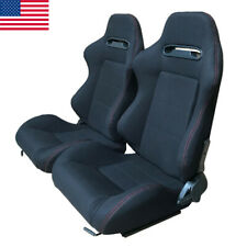 2 Pcs Universal Black Cloth Reclinable Bucket Seats Chairs Sport Racing US Ship