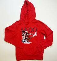 AKOO MENS RED HOODIE PULL OVER LOGO SIZE MEDIUM 100% AUTHENTIC NEW