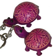 A Pair Set of Genuine Leather Key-chain/bag-charm, Cute Turtle Shape,Purple
