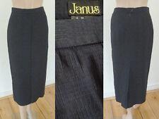 Janus Rock Bleistiftrock Elegant Wadenlang Schlitz SatinBlau strukturiert 38