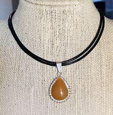 Gemstone (Dyed) Agate Teardrop Orange Pendant Necklace Chakra Feng Shui USA