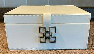 Global Views Aarhus Box White Leather W/Silver Latch Orange Interior Small India