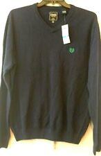 Mens Sweater Chaps Navy V-neck Green Emblem Solid Soft Cotton Cashmere NWT L