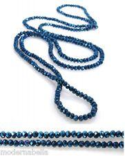 Collana di cristalli Filo lungo elastico da donna,100cm blu verde petrolio