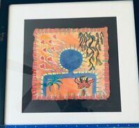 Susan Starr Studio Abstract Artist Textiles Framed Wall Art Signed 33/100 Blue