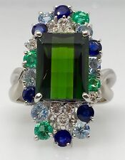 5.16 ct Green Tourmaline, Sapphire, Emerald & Diamond Ring in Platinum - HM1479