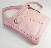 "Pink Smooth Leather Crossbody Messenger Bag 9"" x 7"""