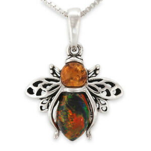 Sterling Silver BLACK OPAL & AMBER Bumble BEE Pendant & Necklace