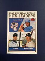 2004 Topps #338 WELLS-ICHIRO-YOUNG Hits 2003 League Leaders Baseball Card !