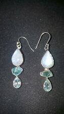 Shivam Made in India .925 Sterling Silver Moonstone Raw Apatite  Earrings  - NEW