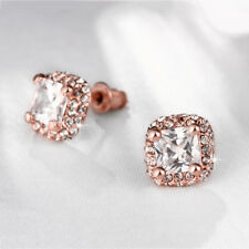 Classic Rose Gold Filled Clear CZ Square Stud Earrings Wedding