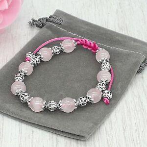 Handmade Natural Rose Quartz Crystal Healing Chakra Gemstone Cord Bracelet.