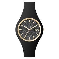 Ice-Reloj 001349 Señoras Correa De Silicona Negro Brillo Hielo Reloj Pequeño Rrp £ 79.95