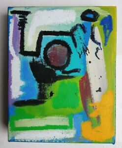 Small Oil Painting Bold Chunky Canvas Blue White Green Original Wall Art L ALLEN