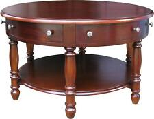 Solid Mahogany 6 Drawer Round Coffee Table H50 x D90 cm T007 NEW