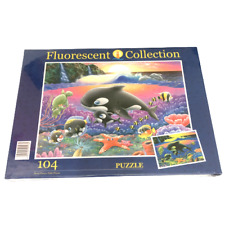 Clementoni Fluorescent Puzzle 104 Piece Orca Family Jigsaw Glow In The Dark