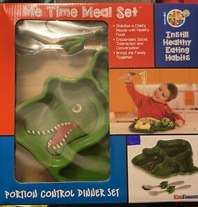 T-Rex Dinosaur Me Time Kids Meal Set Portion Control Divided Plate/  Fork Spoon