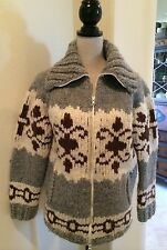 HANDMADE CARDIGAN SWEATER JACKET Heavy Gray Brown Cream Scotland Woman's Vintage