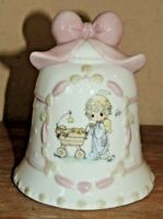 VINTAGE 1995 PRECIOUS MOMENTS ENESCO PORCELAIN CHRISTMAS BABY CARRIAGE BELL POEM