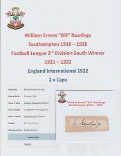 BILL Rawlings Southampton 1918-1928 estremamente rara mano originale firmato di taglio