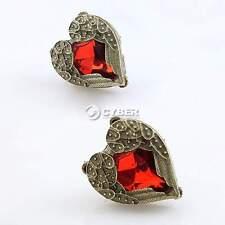 TOP SALE Old Bronze Red Crystal Angel Wing Love Heart Stud Earrings Bronze Metal