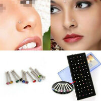 Fashion Stainless Steel Crystal Rhinestone Nose Ring Stud Body Piercing Jewelry