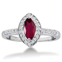 14K WHITE GOLD 1CT MARQUISE RUBY AND DIAMOND HALO RING, SIZE-7