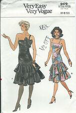 Vogue 9470 sewing pattern Fancy Ruffled DRESS Prom Disco Dance sew Easy 6-8-10